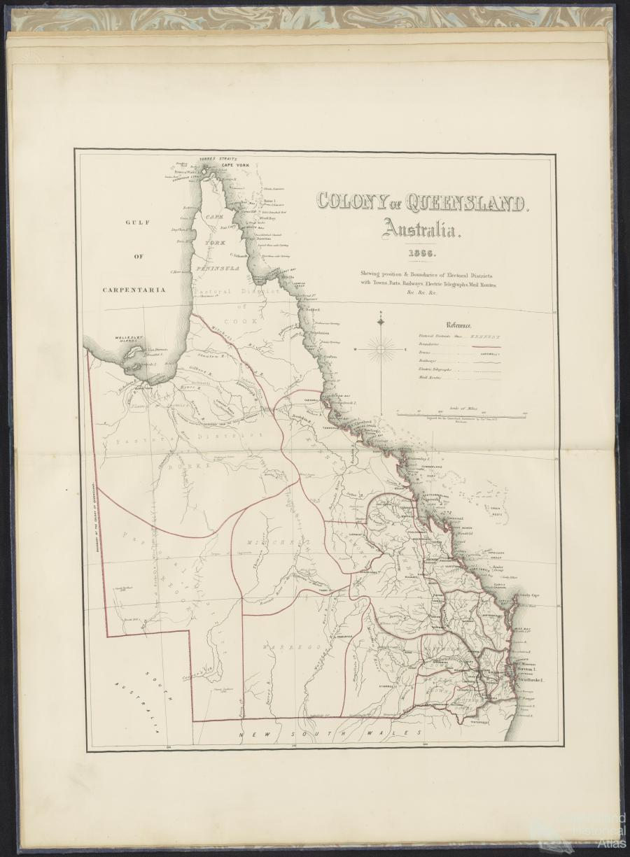 Map Of Australia Highlighting Queensland.Mapping A New Colony 1860 80 Queensland Historical Atlas