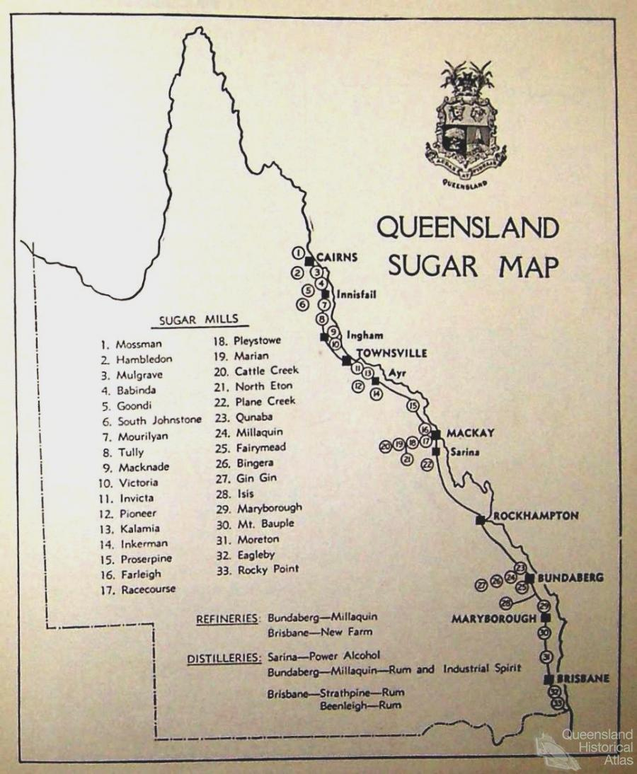 sugar mills map 1941