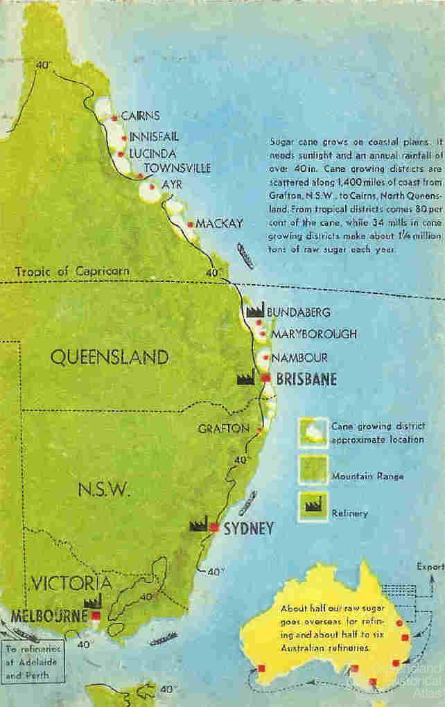 Australian Sugar Growing And Refining Sites C1950