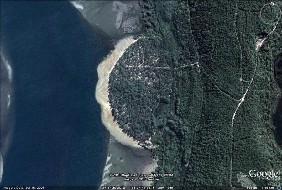 sand slide stradbroke island that occurred in 1980 google map 2010