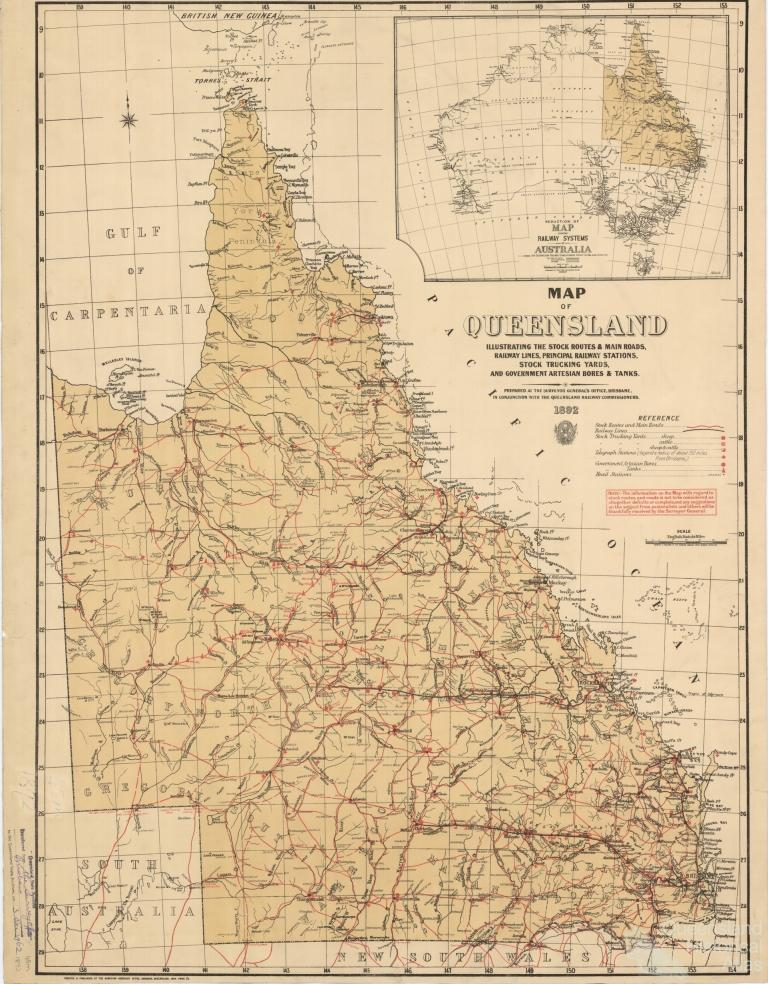 Stock routes and head stations Queensland 1892 Queensland