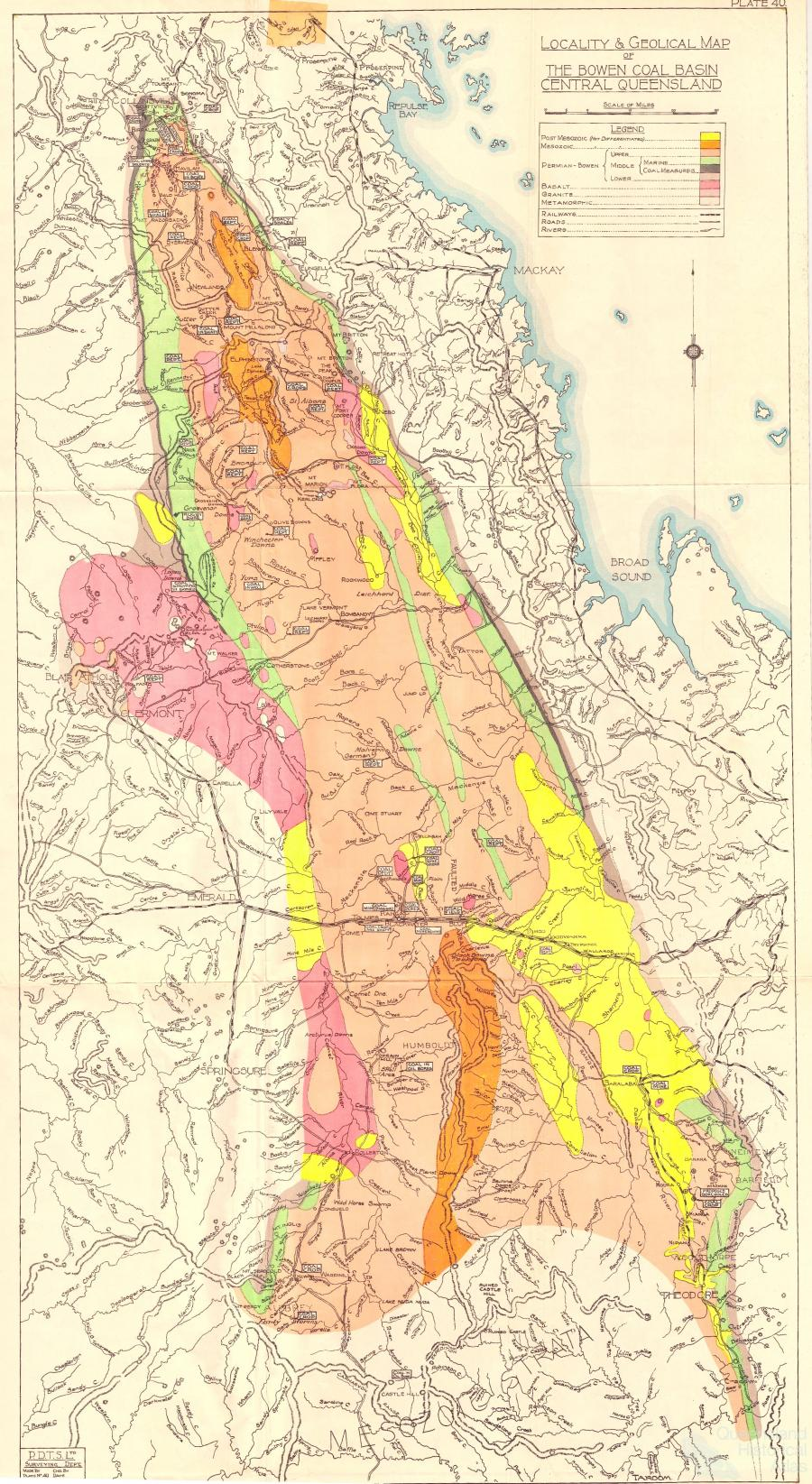 Locality and Geological Map of The Bowen Basin Coal Basin