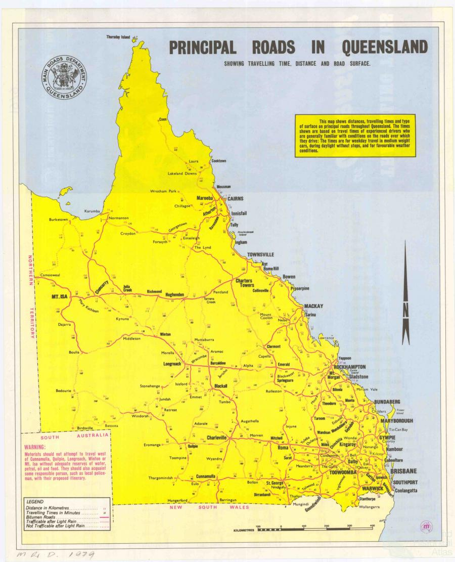 Principal roads in Queensland 1979 Queensland Historical Atlas