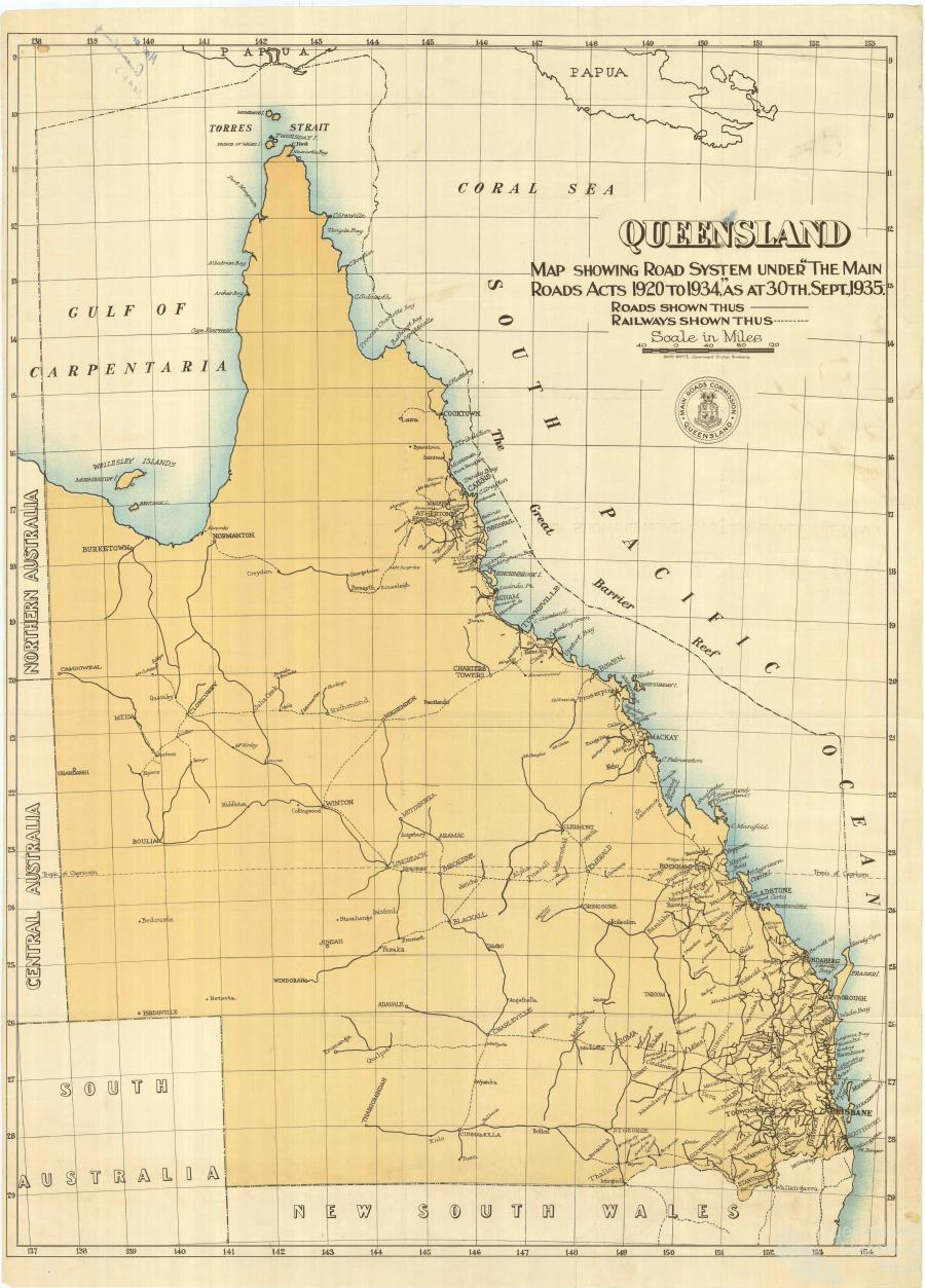 Railways And Roads 1935 Queensland Historical Atlas