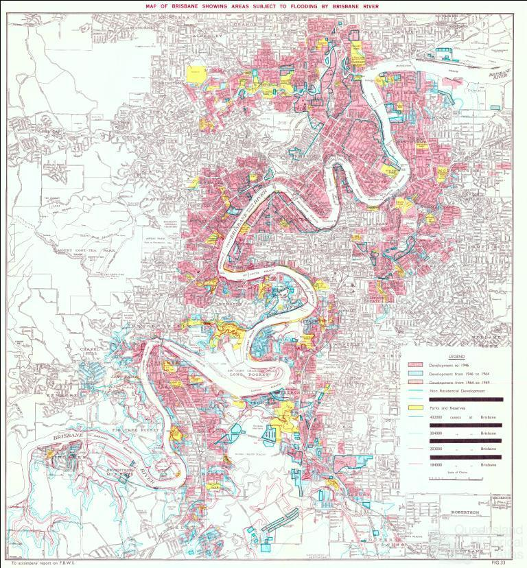 Map Of Brisbane Showing Areas Subject To Flooding By Brisbane - Atlas river