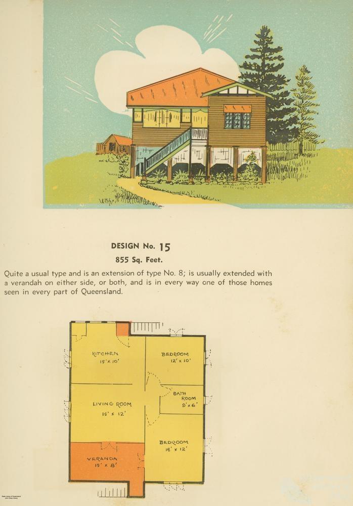 Floor plan and drawing of Queenslander house, 1939 ...
