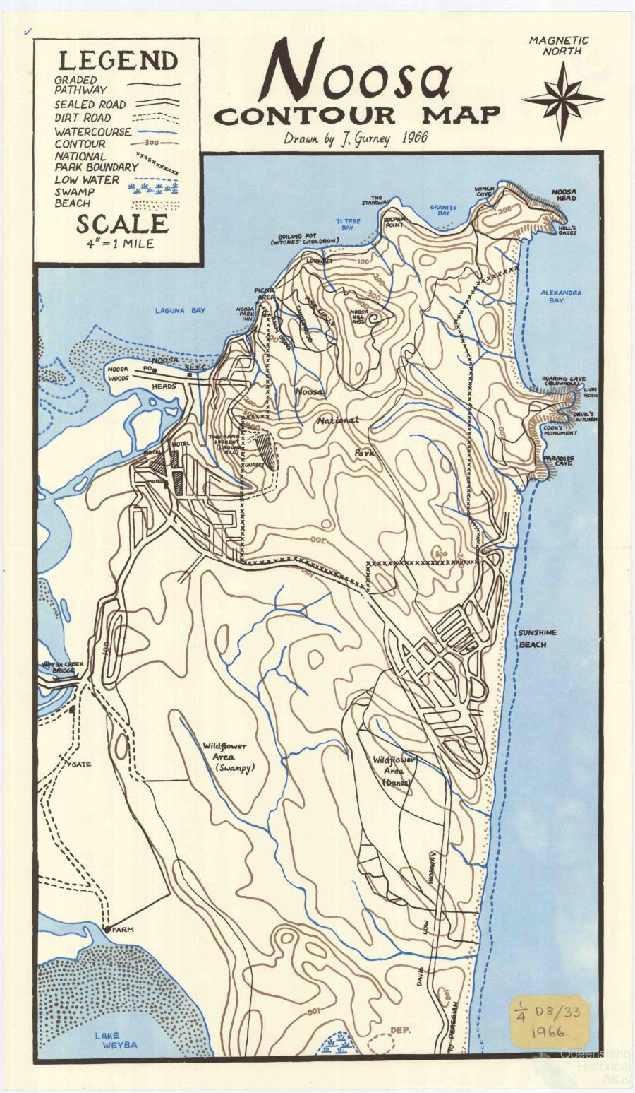 Noosa Contour Map, 1966 | Queensland Historical Atlas
