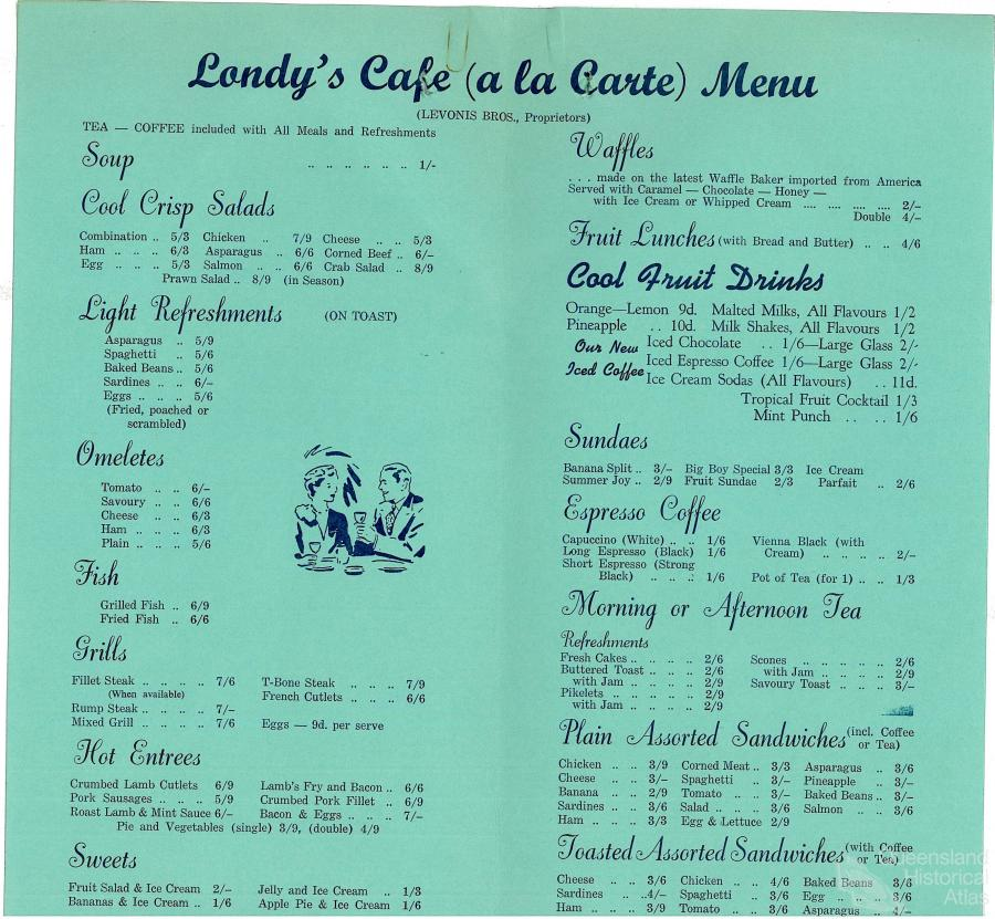 Menu londy s caf 1962 queensland historical atlas for Australian cuisine menu