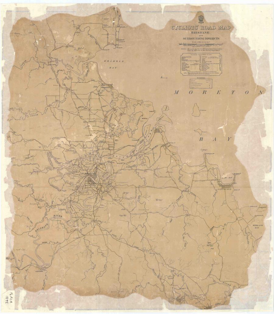 Cyclists Road Map of Brisbane and Surrounding Districts 1896