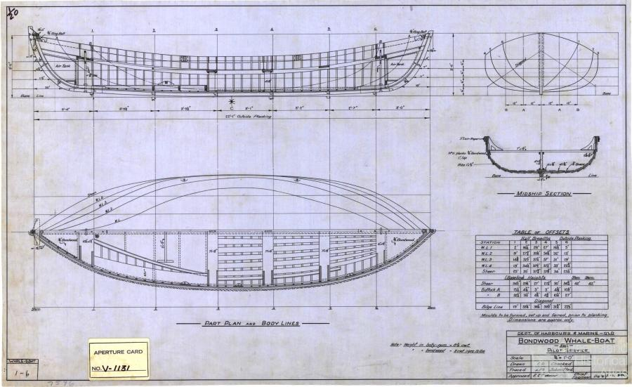Whale boat plan, 1950 | Queensland Historical Atlas
