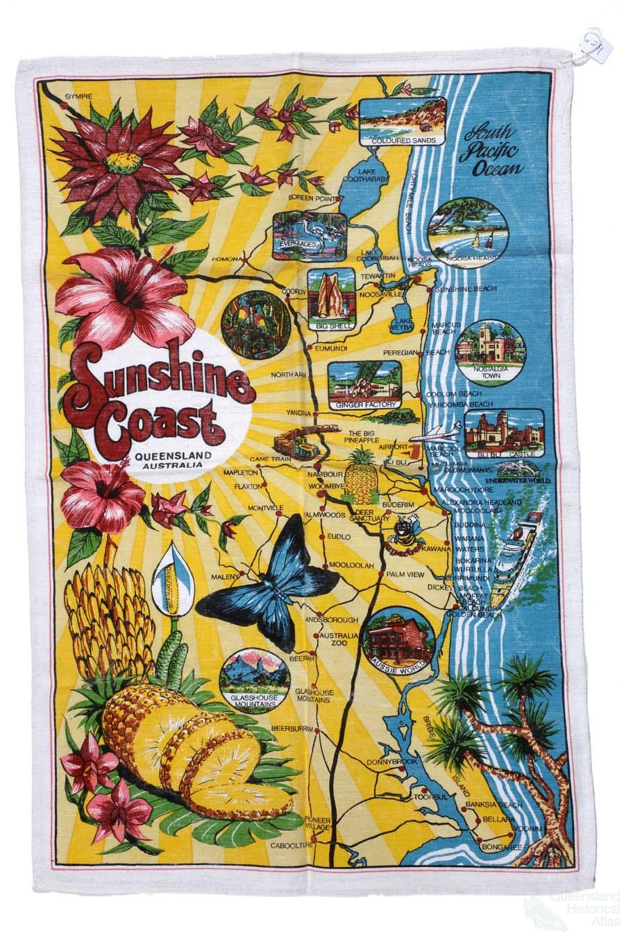 Queensland on a teatowel – East Coast Tourist Attractions Map