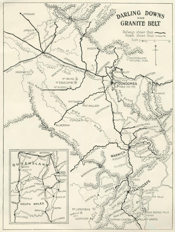 Darling Downs and Granite Belt tourist map c1935 Queensland