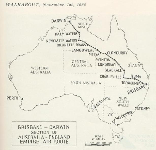 Map From England To Australia.Brisbane Darwin Section Of Australia England Empire Air Route