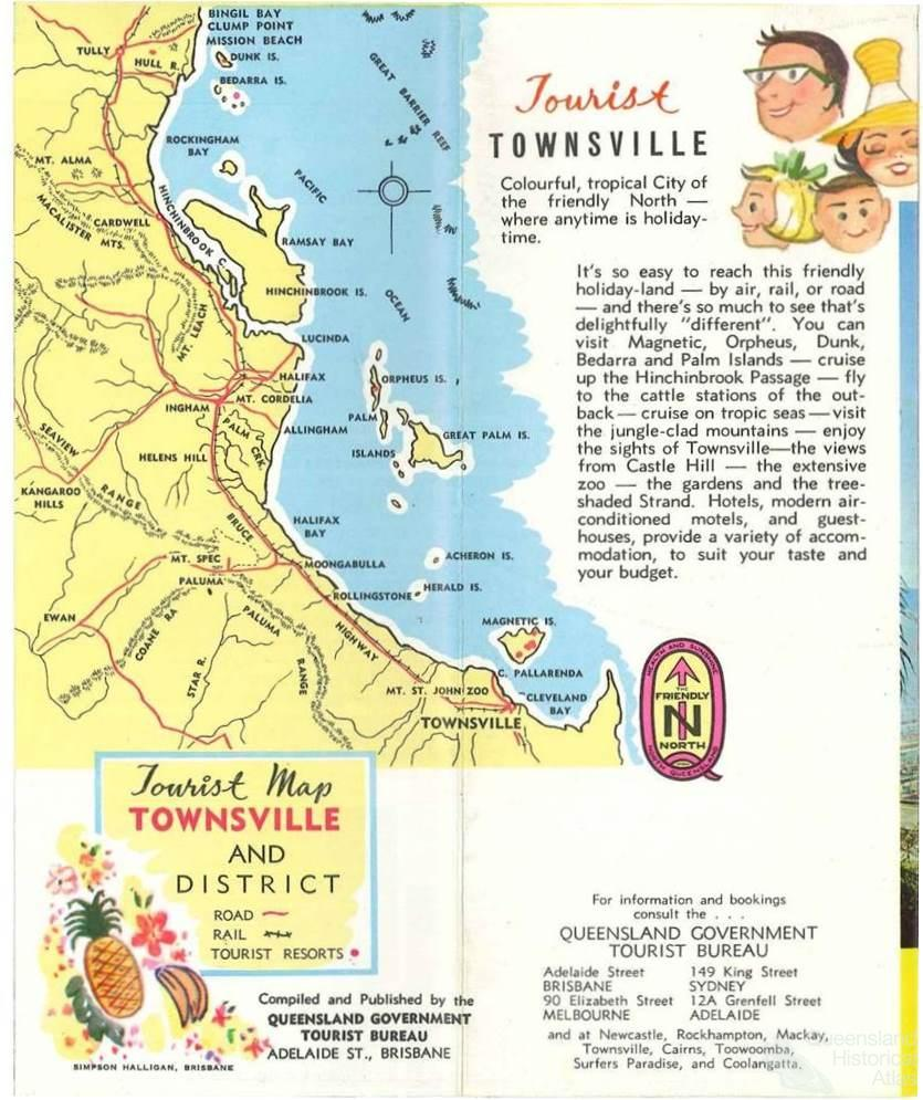 Tourist map Townsville and District c1960 Queensland Historical