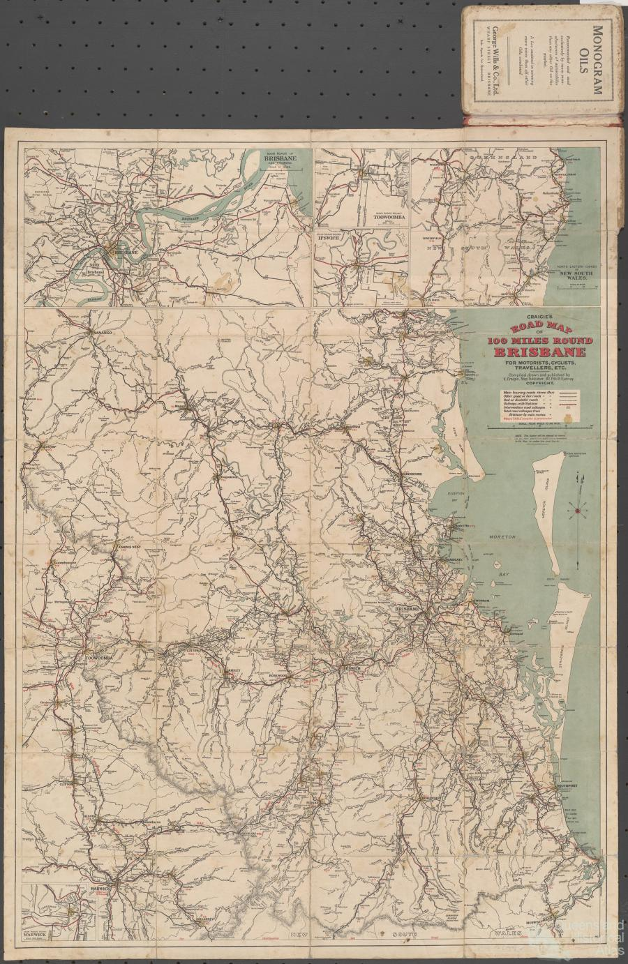 Craigies road map 100 miles round Brisbane 1914 Queensland
