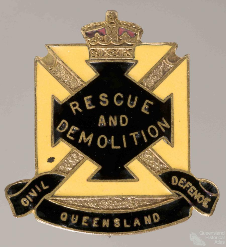 Genuine British Civil Defence First Aid Medical Gold On Black Felt Badge.