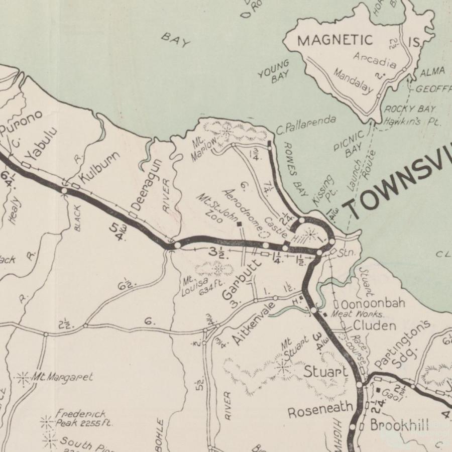 Map RACQ Townsville tourist district map c1950 Queensland