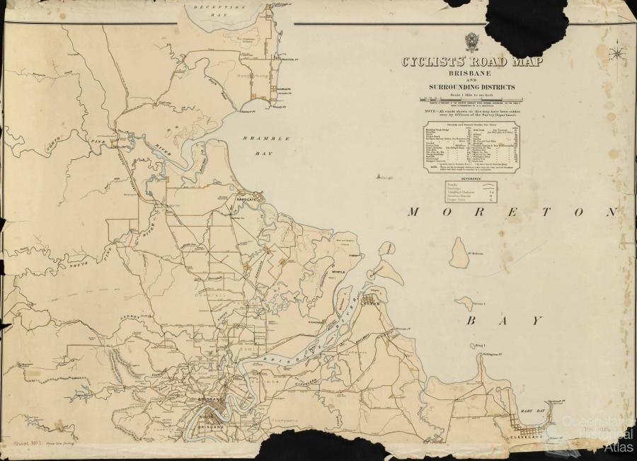 Cyclists Road Map Brisbane and Surrounding Districts 1896