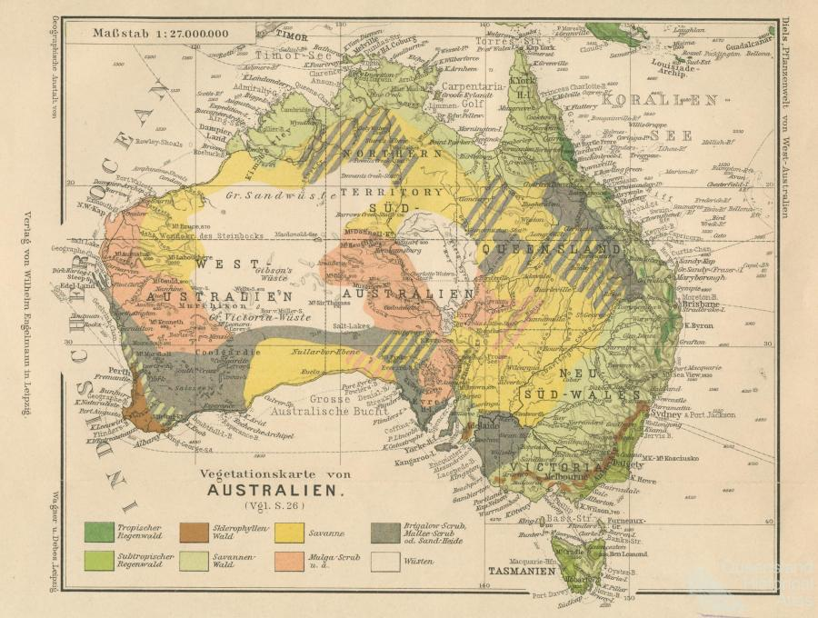 Australia Map Vegetation.Vegetation Map Of Australia 1906 Queensland Historical Atlas