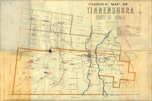 Paddock map of Tinnenburra, 1924