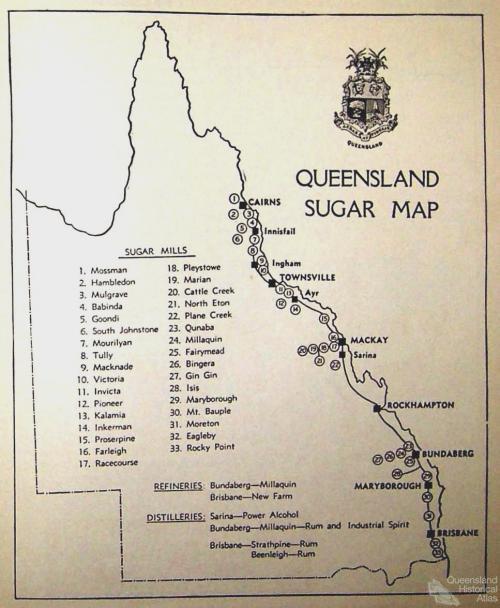 Queensland sugar map, 1941