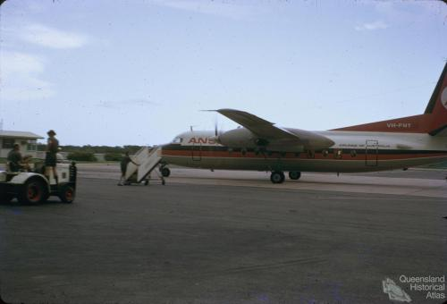 Ansett aircraft at Ayr Airport, 1971