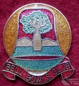 Club badges from Western Queensland towns in the range of the bottle tree