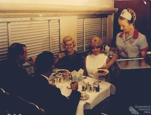 Railway Refreshment staff serving passengers in the Buffet Car on the Sunshine Route