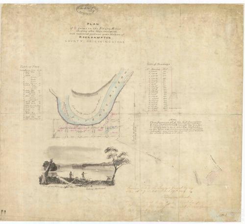 Plan of six farms on the Fitzroy River, Rockhampton, 1859
