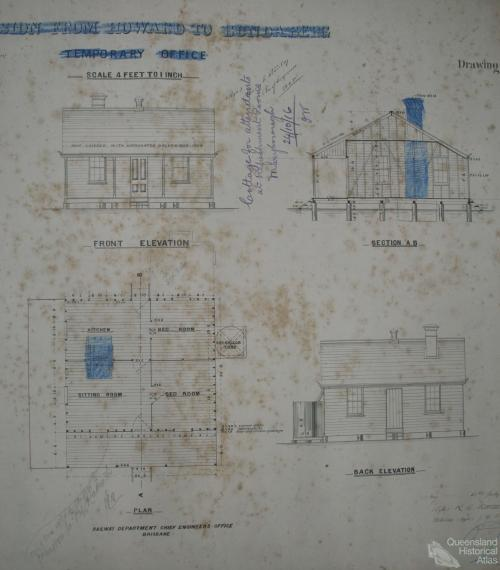 Plans Cottage for attendants at Refreshment Rooms, Maryborough, 1916