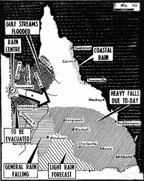 Rainfall in Queensland, February 1953