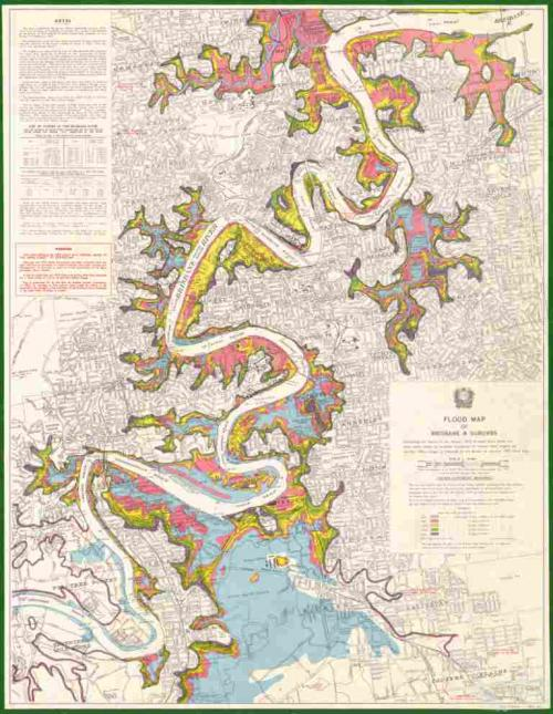 Flood map of Brisbane and suburbs, 1975
