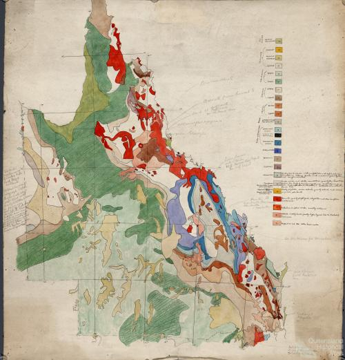 Preliminary plot of Queensland section of Geological map of the Commonwealth of Australia