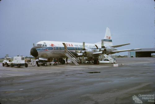 TAA Electra aircraft, Eagle Farm, 1964