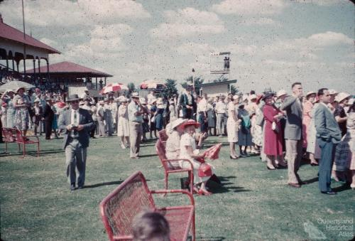 Crowd at Emerald racecourse, c1960