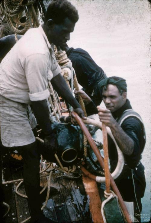 Pearl divers, Thursday Island, 1958