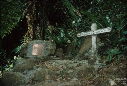 Plaque at the site of the 1937 Stinson air crash, Lamington National Park, 1978