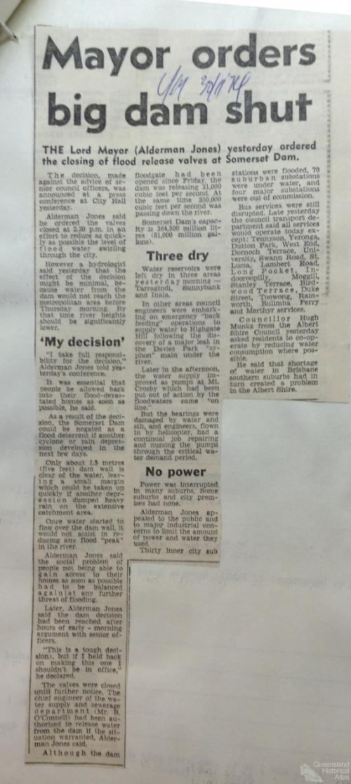 Mayor orders big dam shut, Courier Mail, 30 January 1974