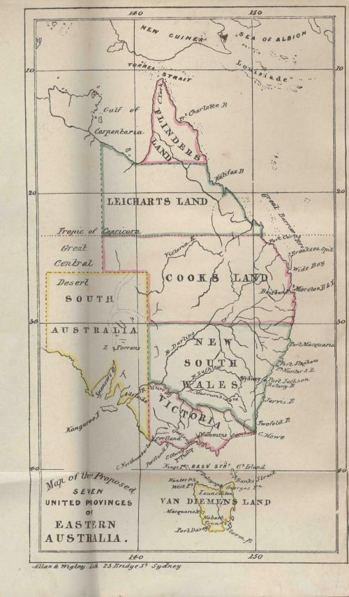 J.D.Lang, Map of the proposed seven united provinces of eastern Australia, 1857