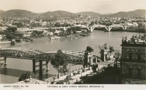 Victoria and Grey Street Bridges, Brisbane, c1934