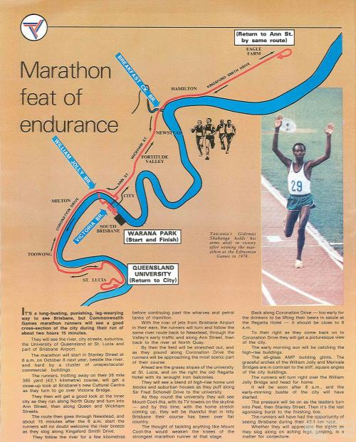 Marathon route, Commonwealth Games, 1982