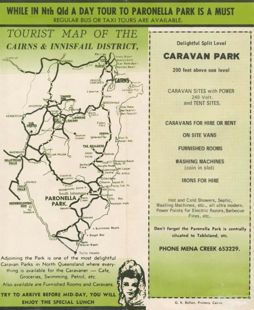 Tourist map of Cairns & Innisfail showing Paronella Park, 1953