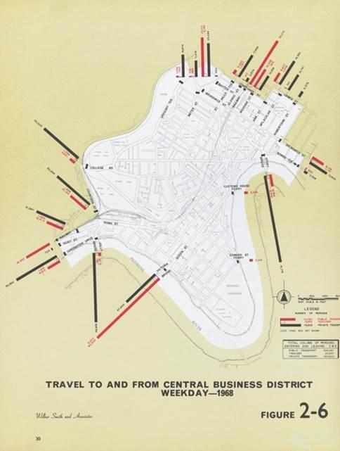 Brisbane public transport map, 1968