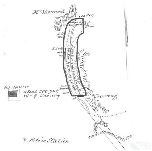 Sketch outlining proposed position of School Reserve, Mount Shamrock