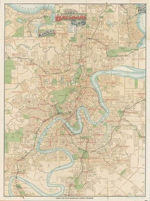 Map of Brisbane and suburbs, 1920