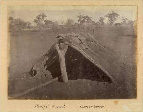 Blacks' dug-out, Tinnenburra, c1910
