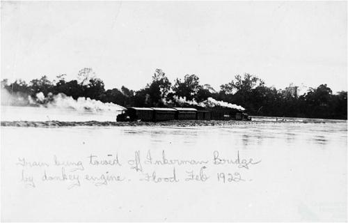 Train towed across Burdekin River at Inkerman sugar mill, 1922