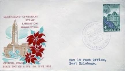 Envelope commemorating Queensland's sesqui-centenary, 1959