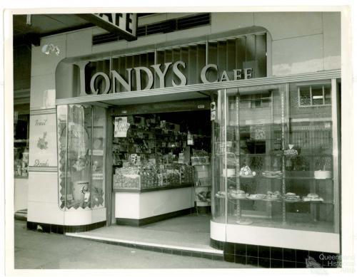 Shopfront Londys cafe, Toowoomba, 1962