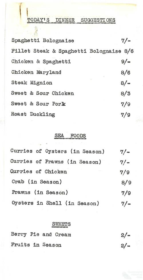 Specials menu, Londys cafe, 1962